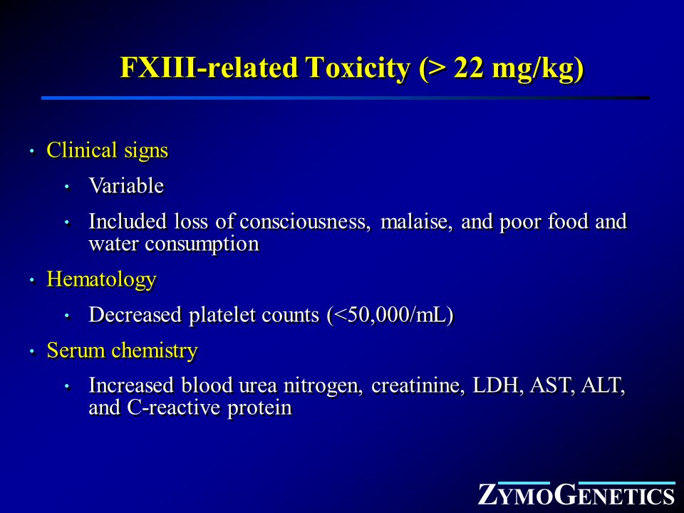 Z YMO G ENETICS FXIII-related Toxicity (> 22 mg/kg) Clinical signs Variable Included loss of consciousness, malaise, and poor food and water consumpti