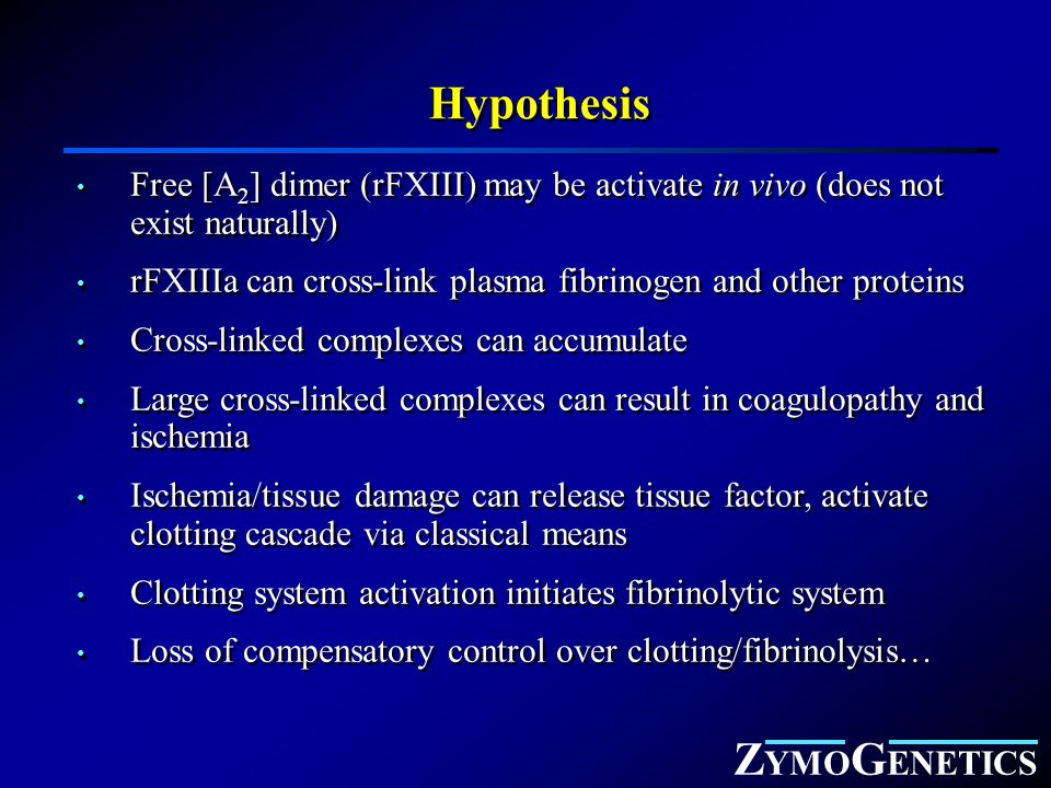 Z YMO G ENETICS Hypothesis Free [A 2 ] dimer (rFXIII) may be activate in vivo (does not exist naturally) rFXIIIa can cross-link plasma fibrinogen and