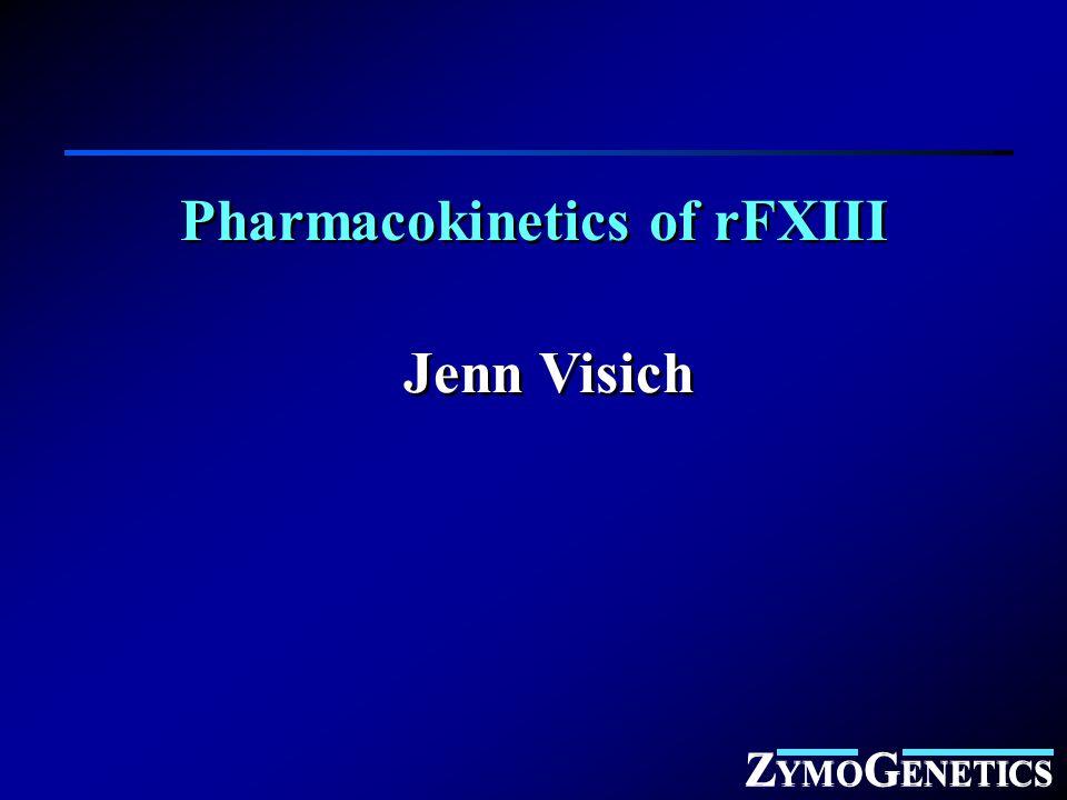 Z YMO G ENETICS Pharmacokinetics of rFXIII Jenn Visich Z YMO G ENETICS