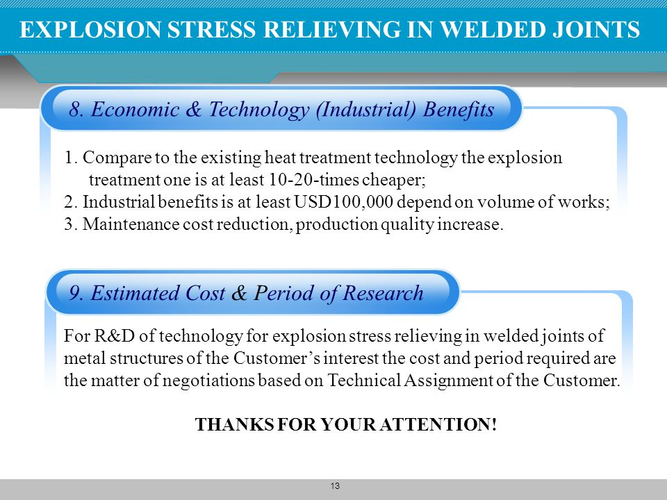 13 8. Economic & Technology (Industrial) Benefits 1. Compare to the existing heat treatment technology the explosion treatment one is at least 10-20-t