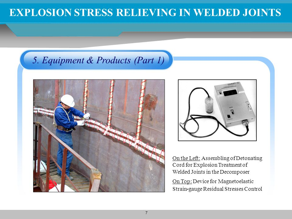 7 EXPLOSION STRESS RELIEVING IN WELDED JOINTS 5. Equipment & Products (Part 1) On the Left: Assembling of Detonating Cord for Explosion Treatment of W