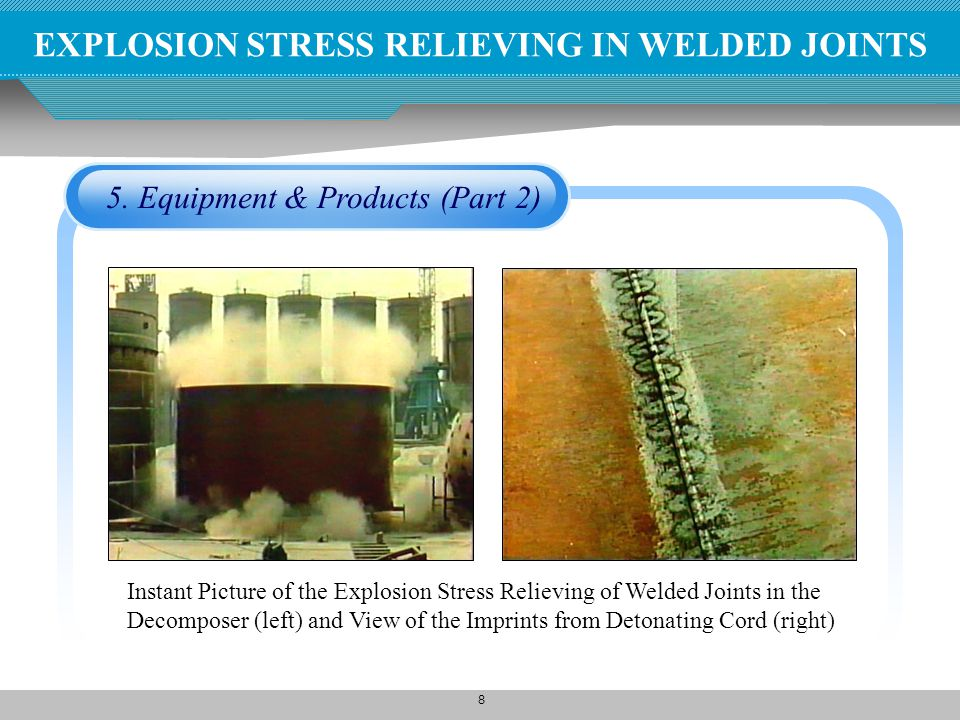 8 5. Equipment & Products (Part 2) Instant Picture of the Explosion Stress Relieving of Welded Joints in the Decomposer (left) and View of the Imprint