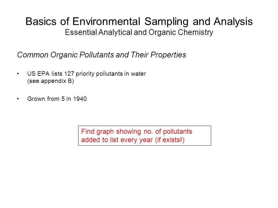Basics of Environmental Sampling and Analysis Essential Analytical and Organic Chemistry Common Organic Pollutants and Their Properties US EPA lists 1