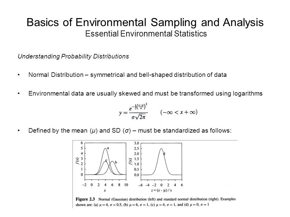 Basics of Environmental Sampling and Analysis Essential Environmental Statistics Understanding Probability Distributions Normal Distribution – symmetrical and bell-shaped distribution of data Environmental data are usually skewed and must be transformed using logarithms Defined by the mean (μ) and SD (σ) – must be standardized as follows: