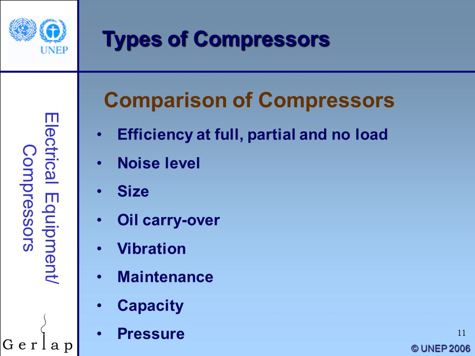 11 © UNEP 2006 Efficiency at full, partial and no load Noise level Size Oil carry-over Vibration Maintenance Capacity Pressure Comparison of Compresso