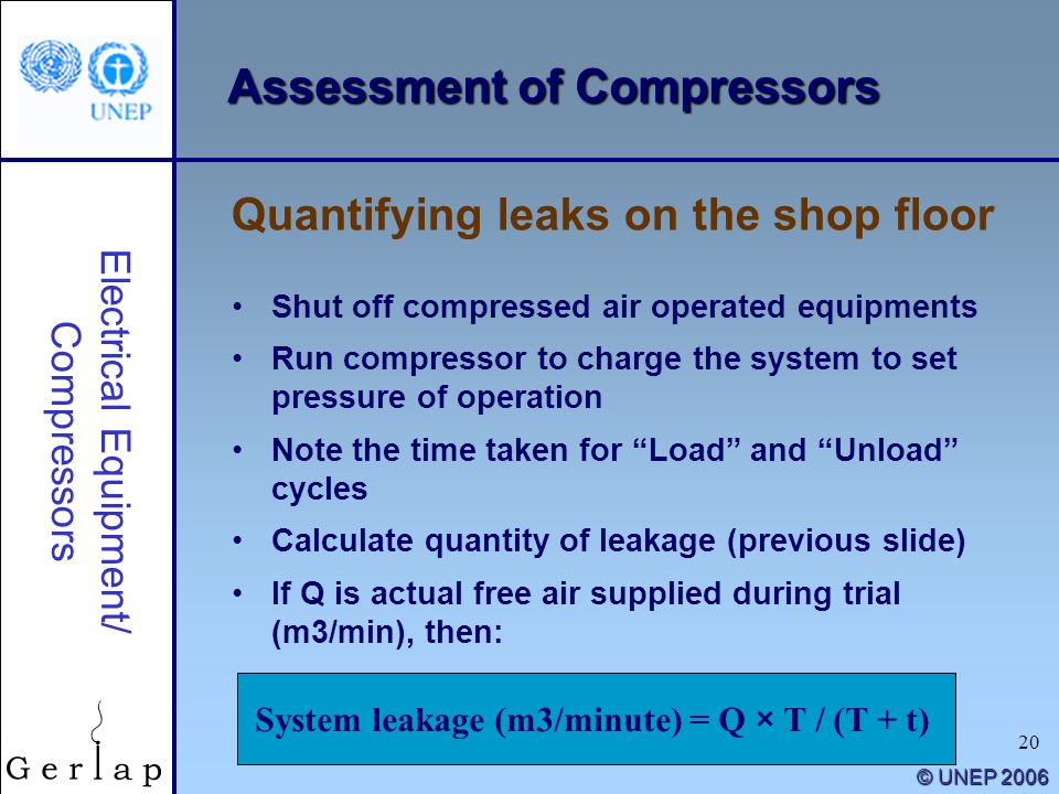 "20 © UNEP 2006 Shut off compressed air operated equipments Run compressor to charge the system to set pressure of operation Note the time taken for ""L"