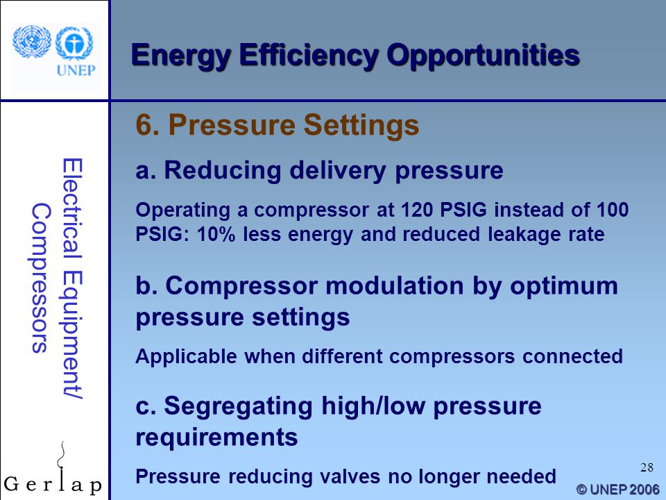 28 © UNEP 2006 Electrical Equipment/ Compressors a. Reducing delivery pressure Operating a compressor at 120 PSIG instead of 100 PSIG: 10% less energy