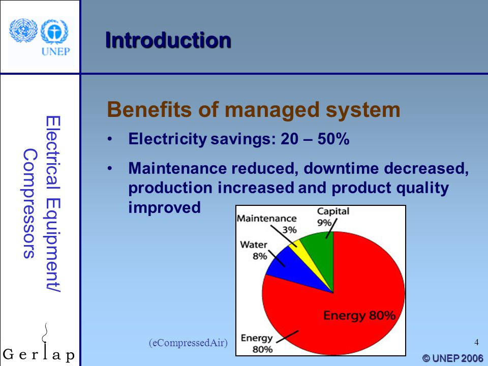 4 © UNEP 2006 (eCompressedAir) Electricity savings: 20 – 50% Maintenance reduced, downtime decreased, production increased and product quality improve