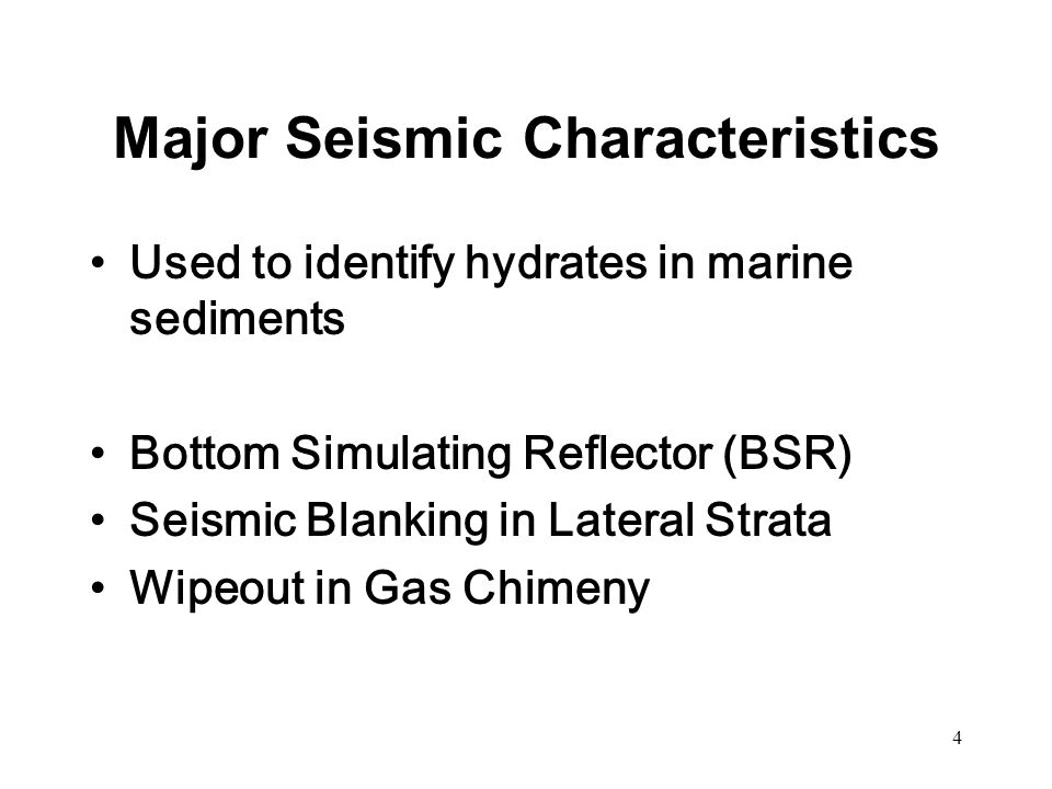 5 Bottom Simulating Reflector (BSR)  A strong reflector below seafloor  Parallel to the seafloor  Indicating the abrupt transition from hydrate to free gas phase below  In good accordance with 3-phase equilibrium of a pure-methane system Taylor et al., 1992; M.W.