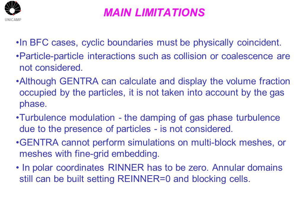 UNICAMP MAIN LIMITATIONS In BFC cases, cyclic boundaries must be physically coincident.