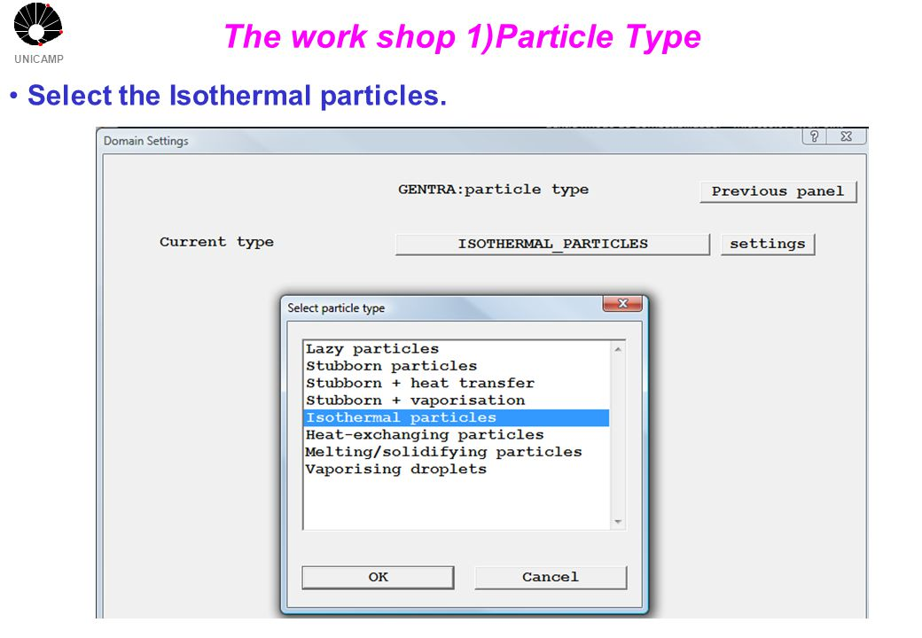 UNICAMP The work shop 1)Particle Type Select the Isothermal particles.