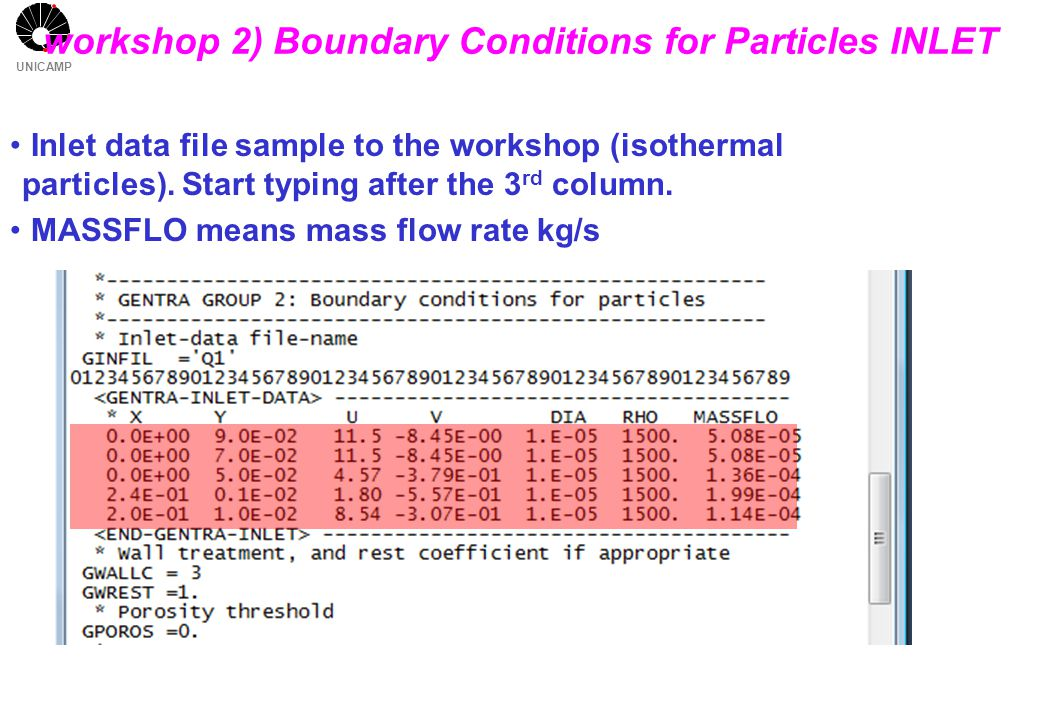 UNICAMP Inlet data file sample to the workshop (isothermal particles). Start typing after the 3 rd column. MASSFLO means mass flow rate kg/s workshop