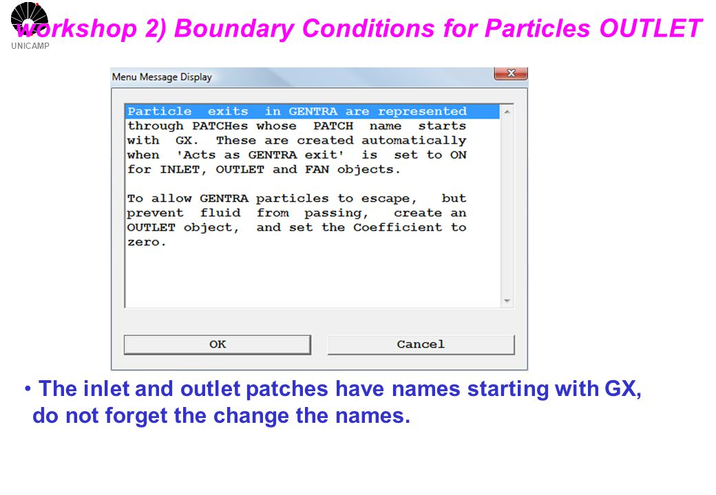 UNICAMP workshop 2) Boundary Conditions for Particles OUTLET The inlet and outlet patches have names starting with GX, do not forget the change the names.