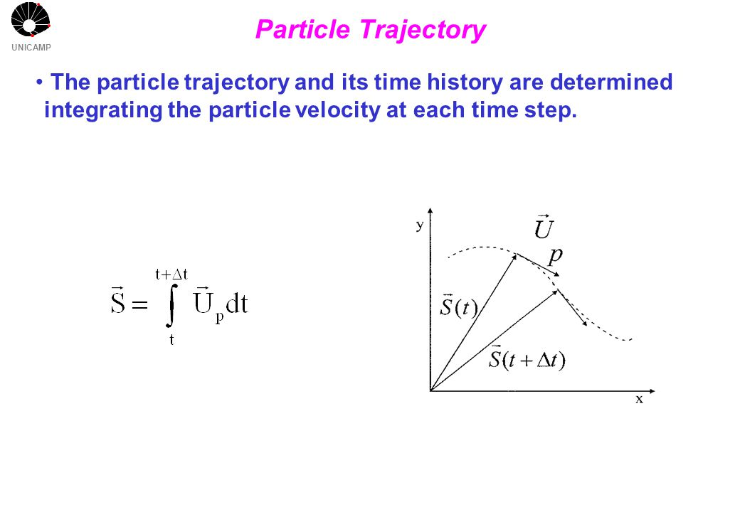 UNICAMP Particle Trajectory The particle trajectory and its time history are determined integrating the particle velocity at each time step.