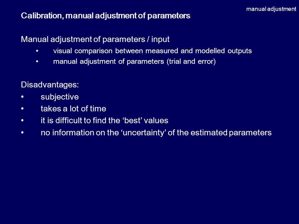 manual adjustment Calibration, manual adjustment of parameters Manual adjustment of parameters / input visual comparison between measured and modelled