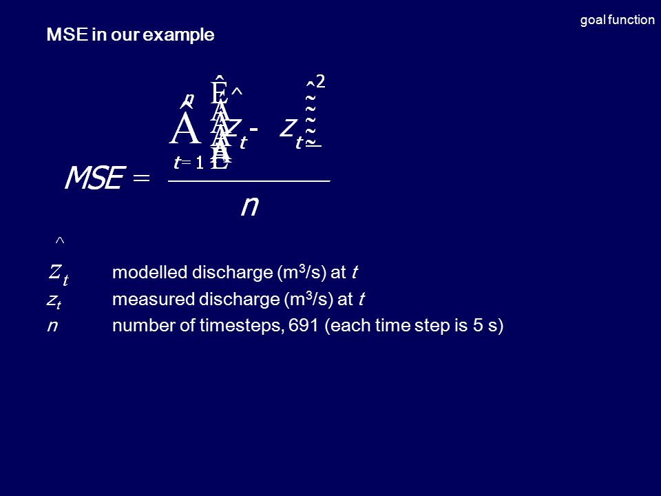 goal function MSE in our example modelled discharge (m 3 /s) at t z t measured discharge (m 3 /s) at t nnumber of timesteps, 691 (each time step is 5