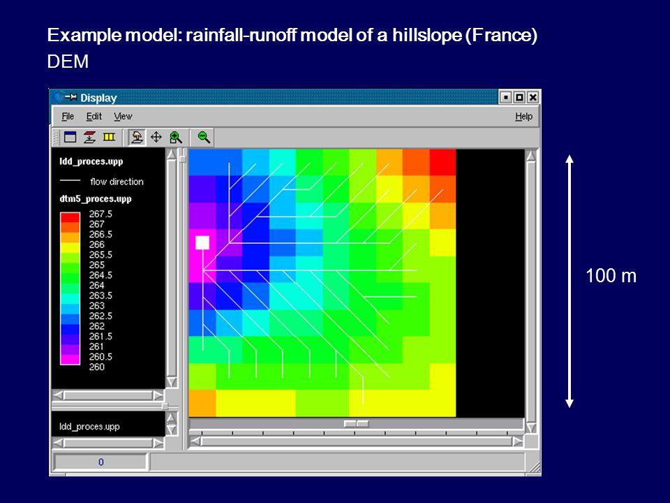 Rainfall-runoff model of a hillslope (France) measured rainfall 3 hours rain, m/10 s