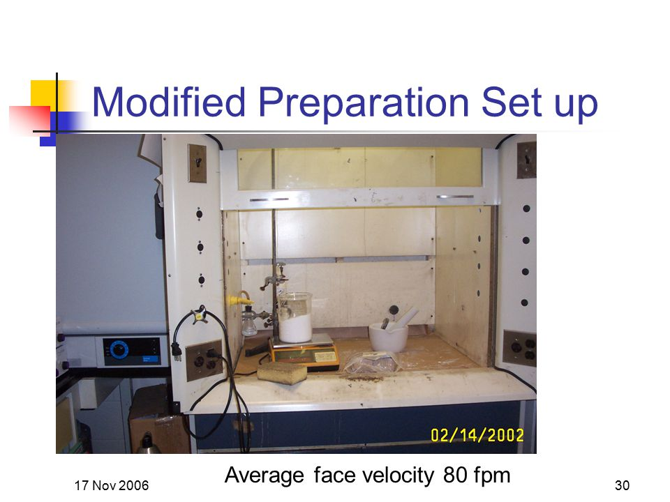 17 Nov 200630 Modified Preparation Set up Average face velocity 80 fpm