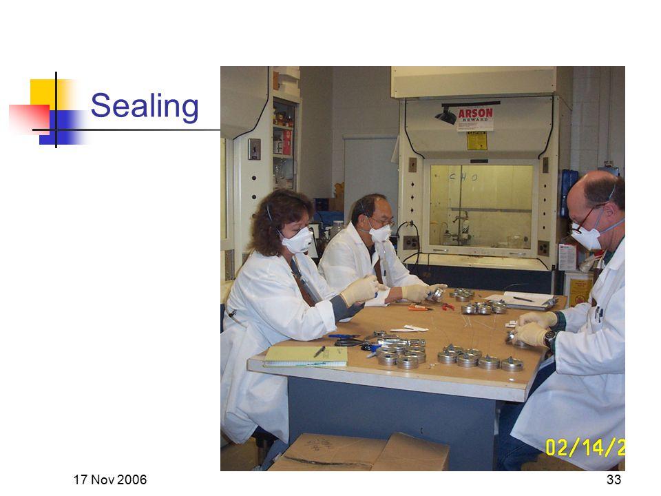 17 Nov 200633 Sealing