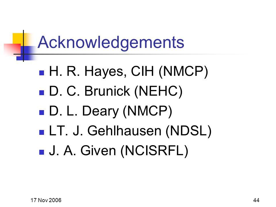 17 Nov 200644 Acknowledgements H. R. Hayes, CIH (NMCP) D.