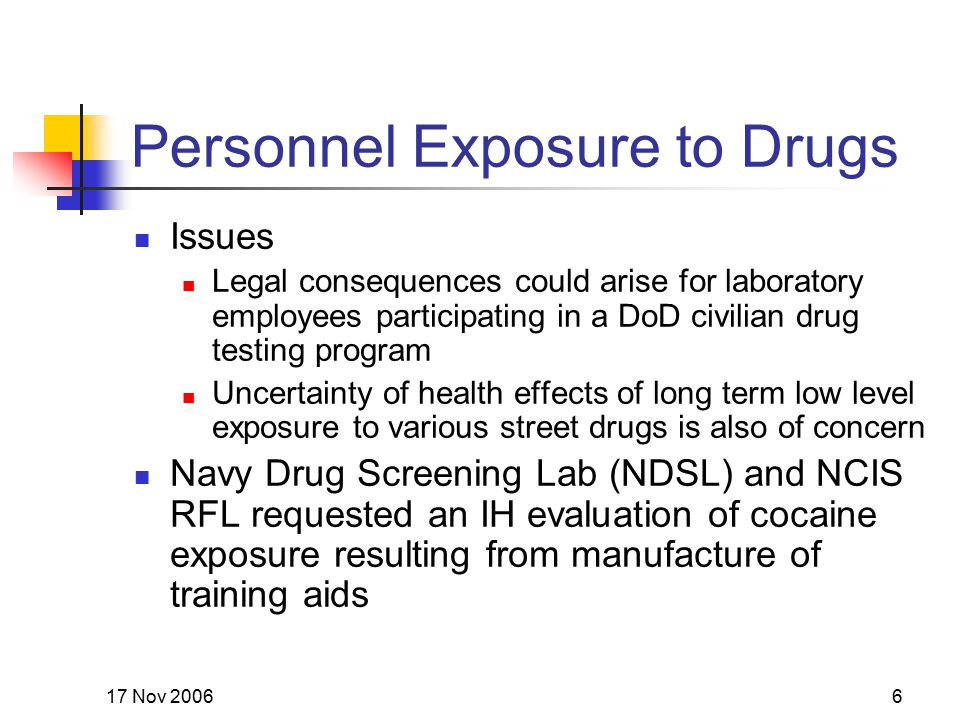 17 Nov 20066 Personnel Exposure to Drugs Issues Legal consequences could arise for laboratory employees participating in a DoD civilian drug testing p