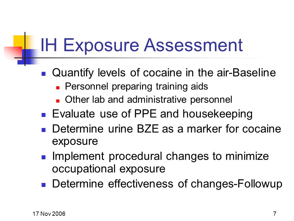 17 Nov 20067 IH Exposure Assessment Quantify levels of cocaine in the air-Baseline Personnel preparing training aids Other lab and administrative pers
