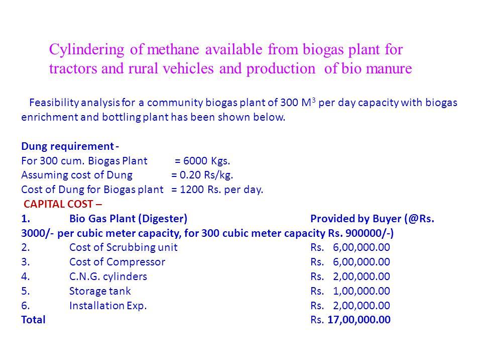 Cost estimates A. Non recurring Sum =8,50,000 ($ 21,250) B. Recurring Sum=3,87,000 ($ 9675) Income— Electricity supply 130 unit @ Rs.6 per unit *365 =
