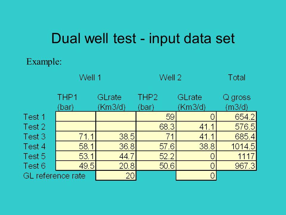 Dual well test - input data set Example: