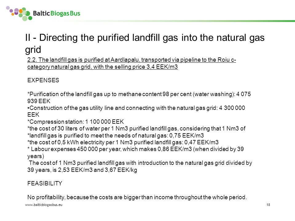 www.balticbiogasbus.eu18 II - Directing the purified landfill gas into the natural gas grid 2.2.