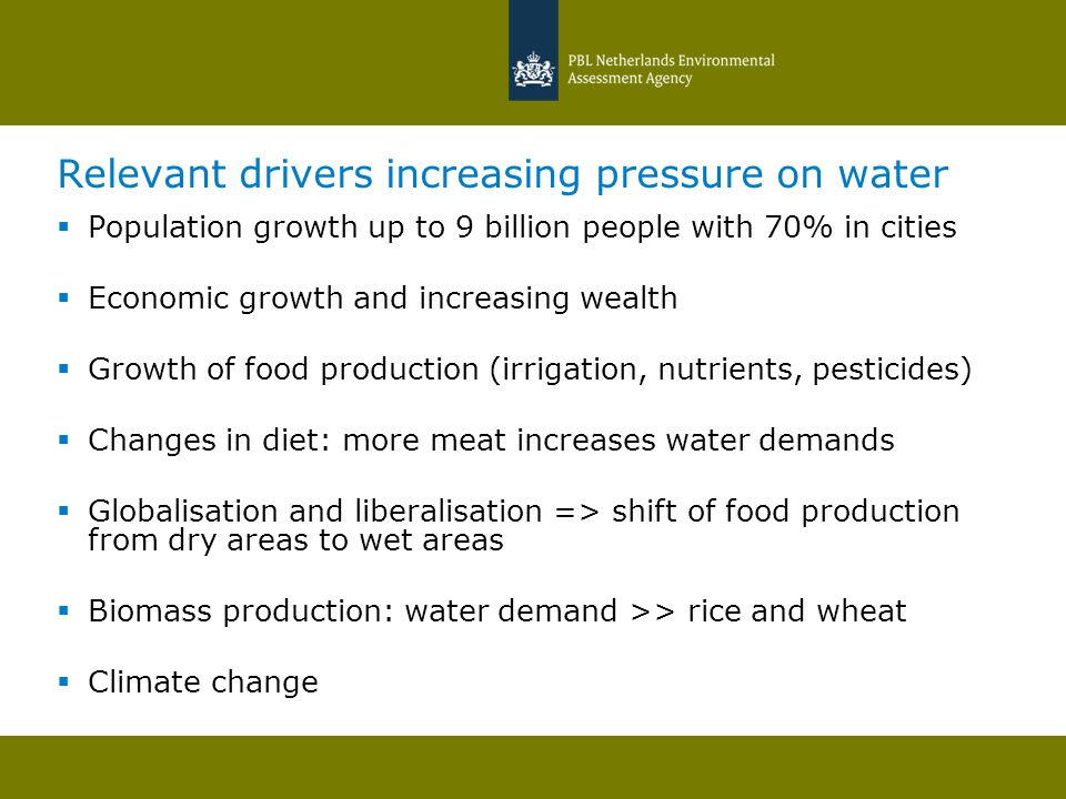Relevant drivers increasing pressure on water  Population growth up to 9 billion people with 70% in cities  Economic growth and increasing wealth 