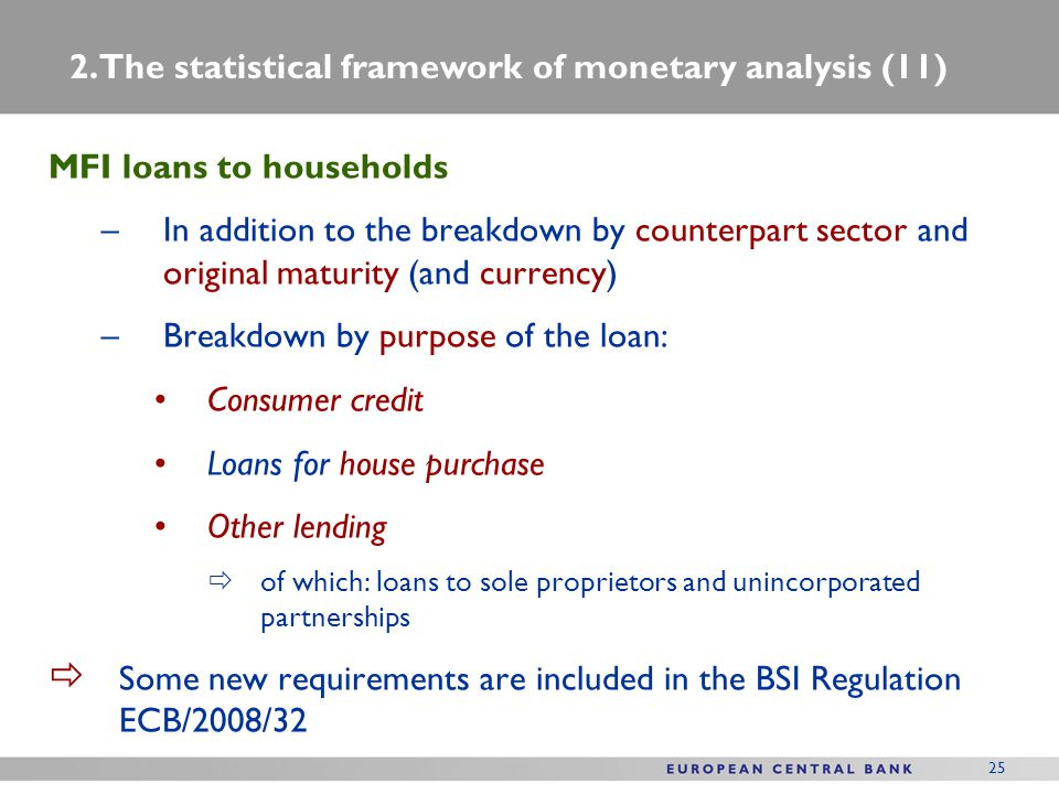 25 MFI loans to households –In addition to the breakdown by counterpart sector and original maturity (and currency) –Breakdown by purpose of the loan: