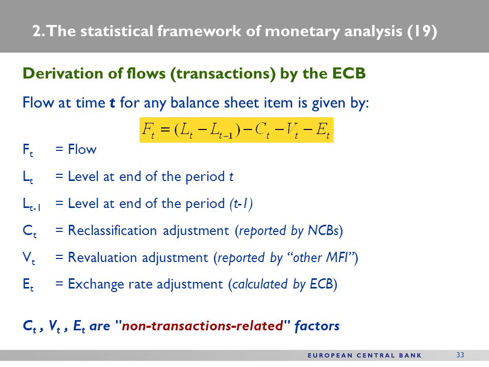 33 Derivation of flows (transactions) by the ECB Flow at time t for any balance sheet item is given by: F t = Flow L t = Level at end of the period t