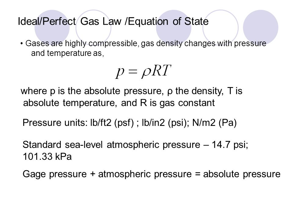 Ideal/Perfect Gas Law /Equation of State Gases are highly compressible, gas density changes with pressure and temperature as, where p is the absolute