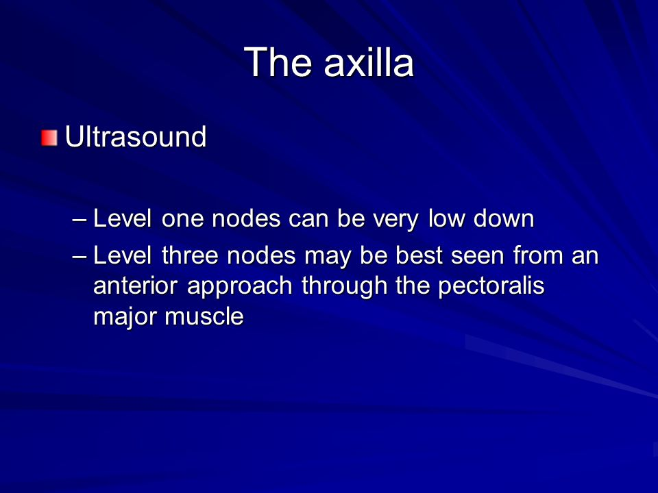 The axilla Ultrasound –Level one nodes can be very low down –Level three nodes may be best seen from an anterior approach through the pectoralis major