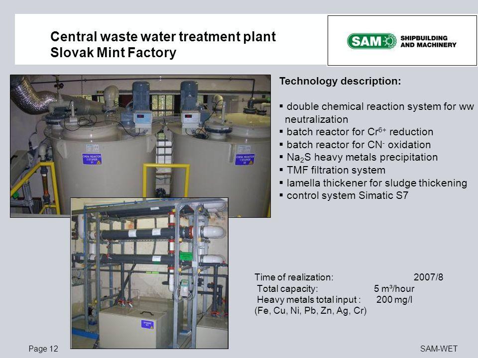 Page 12SAM-WET Central waste water treatment plant Slovak Mint Factory Technology description:  double chemical reaction system for ww neutralization