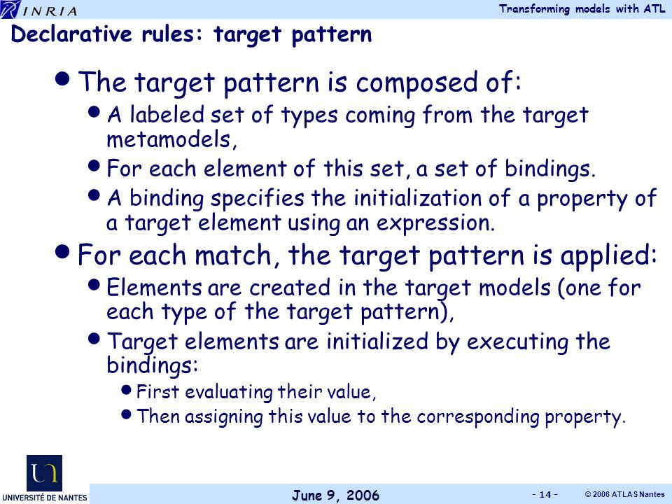June 9, 2006 Transforming models with ATL © 2006 ATLAS Nantes - 14 - Declarative rules: target pattern The target pattern is composed of: A labeled set of types coming from the target metamodels, For each element of this set, a set of bindings.