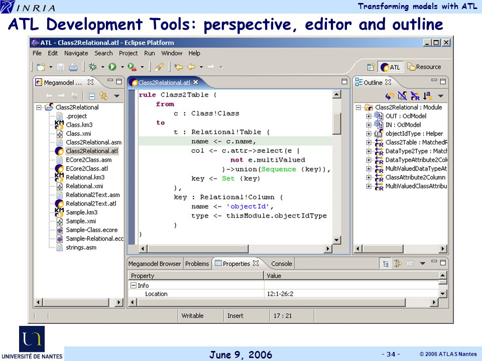 June 9, 2006 Transforming models with ATL © 2006 ATLAS Nantes - 34 - ATL Development Tools: perspective, editor and outline