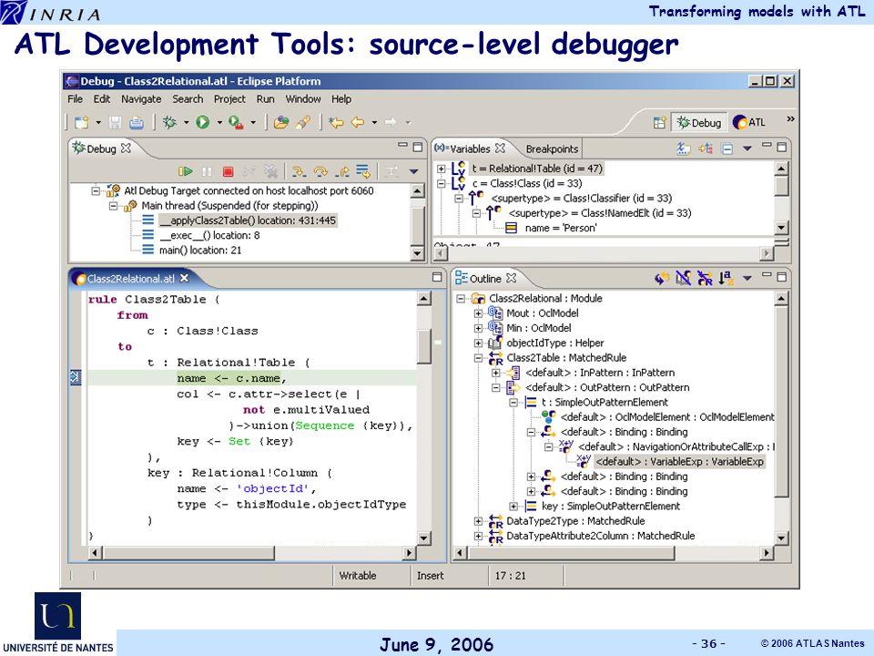 June 9, 2006 Transforming models with ATL © 2006 ATLAS Nantes - 36 - ATL Development Tools: source-level debugger