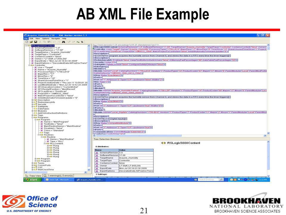 21 BROOKHAVEN SCIENCE ASSOCIATES AB XML File Example