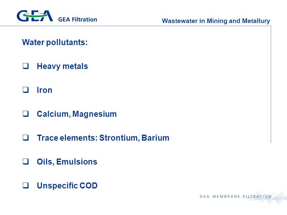 Wastewater in Mining and Metallury Water pollutants:  Heavy metals  Iron  Calcium, Magnesium  Trace elements: Strontium, Barium  Oils, Emulsions  Unspecific COD