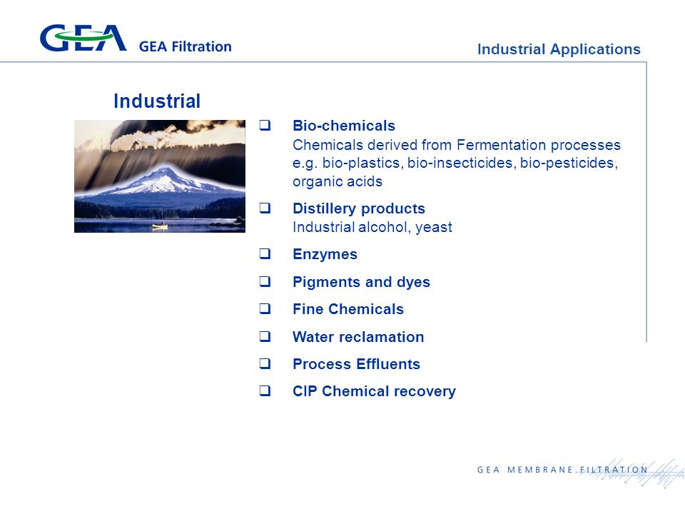 Industrial Applications Industrial  Bio-chemicals Chemicals derived from Fermentation processes e.g.