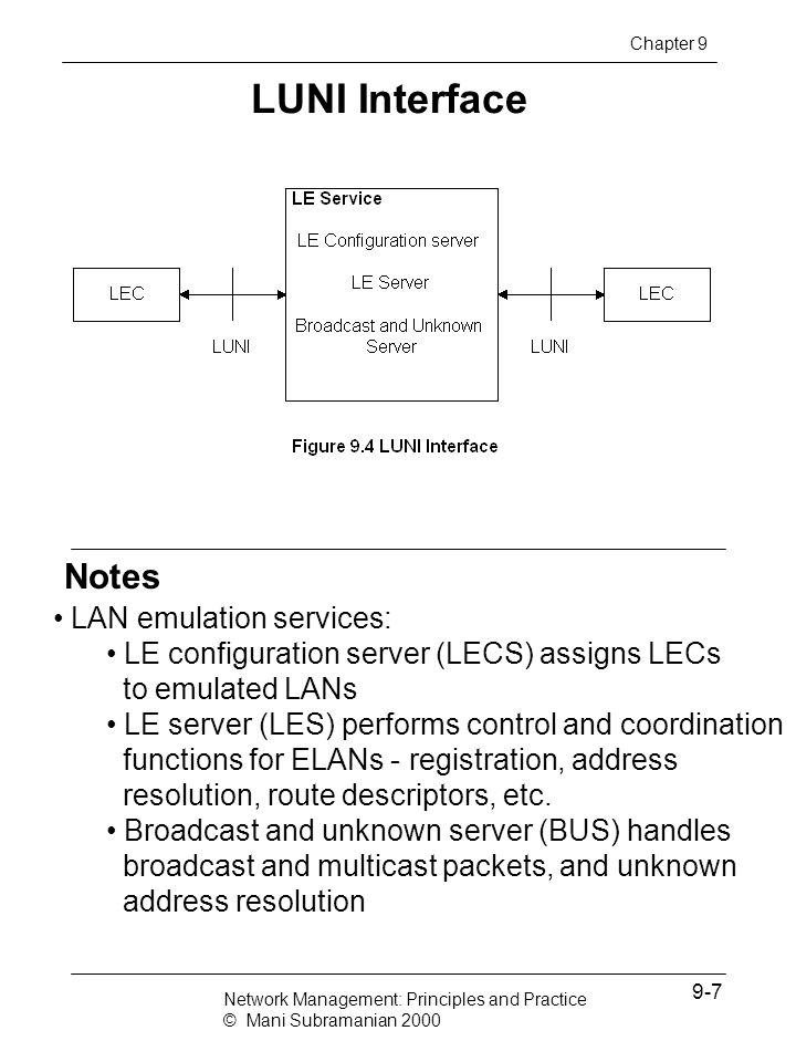 Notes Management of LANE Chapter 9 ATM LAN managed by SNMP MIBs defined by IETF LES, LECS, BUS, and LEC are managed by ATM Forum MIB ELAN MIB deals with information for a LEC to join an ELAN LES MIB used to create, configure, and monitor LESs BUS MIB used to create, destroy, configure, and determine BUS status; also ELAN topology Network Management: Principles and Practice © Mani Subramanian 2000 9-38
