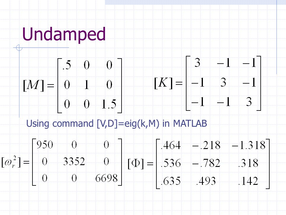 Proportional Structural Damping Assume proportional structural damping as: