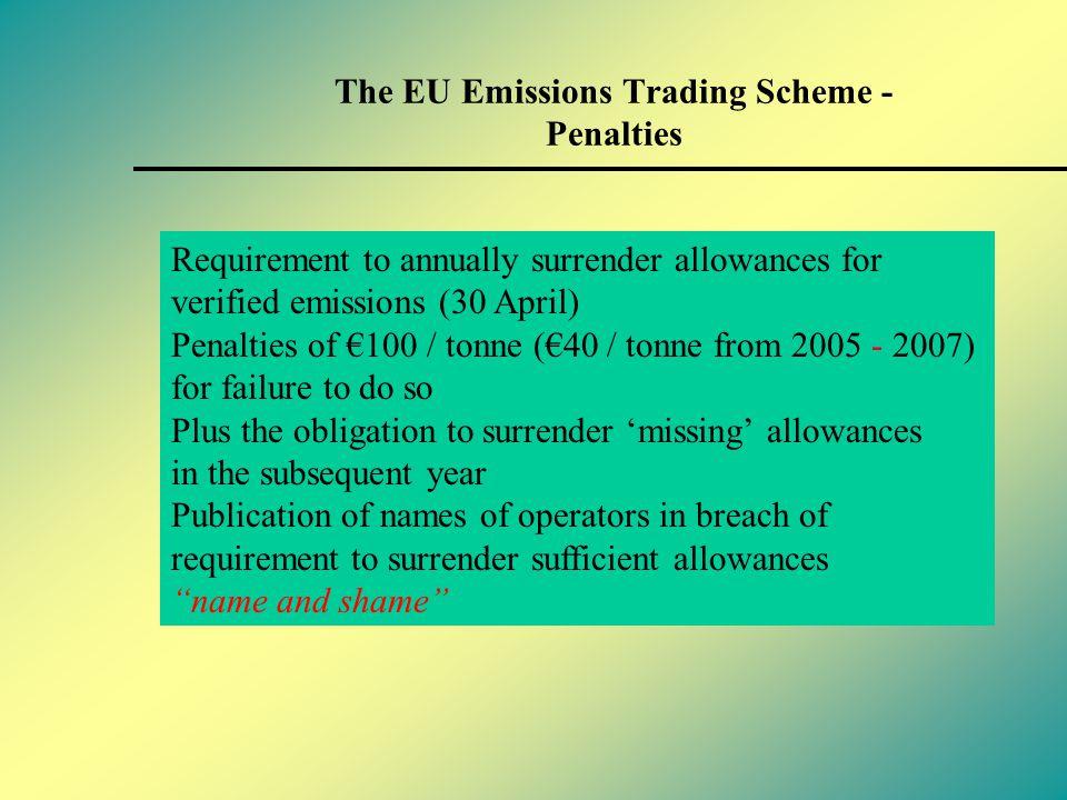 The EU Emissions Trading Scheme - Harmonized compliance and enforcement elements Monitoring & reporting Article 14 & Annex IV ET Verification Article 15 & Annex V ETD M&R guidelines Penalties Article 16 ETD