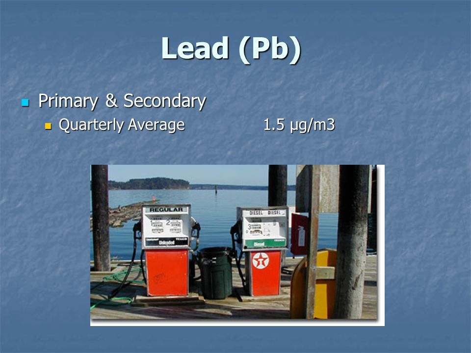 Lead (Pb) Lead (Pb) Primary & Secondary Primary & Secondary Quarterly Average 1.5 µg/m3 Quarterly Average 1.5 µg/m3