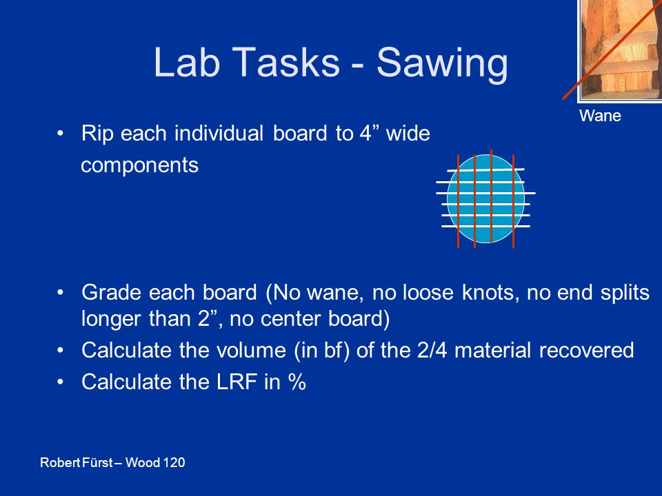 Robert Fürst – Wood 120 Lab Tasks - Sawing Rip each individual board to 4 wide components Grade each board (No wane, no loose knots, no end splits longer than 2 , no center board) Calculate the volume (in bf) of the 2/4 material recovered Calculate the LRF in % Wane