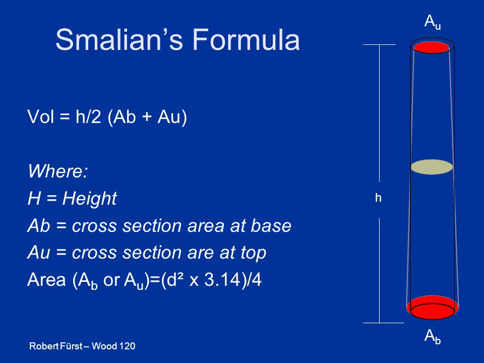 Robert Fürst – Wood 120 Smalian's Formula AbAb AuAu h Vol = h/2 (Ab + Au) Where: H = Height Ab = cross section area at base Au = cross section are at top Area (A b or A u )=(d² x 3.14)/4