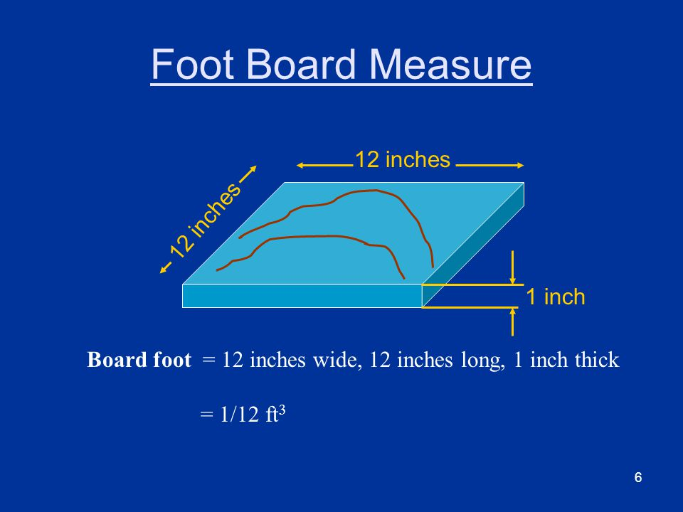 6 Foot Board Measure 12 inches 1 inch Board foot = 12 inches wide, 12 inches long, 1 inch thick = 1/12 ft 3