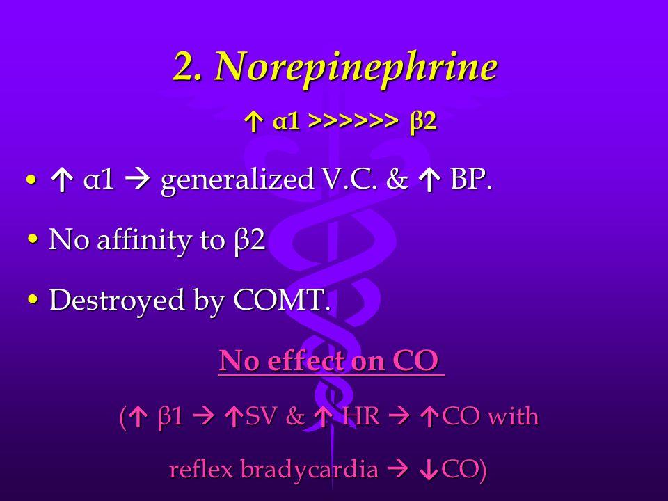 2. Norepinephrine ↑ α1 >>>>>> β2 ↑ α1  generalized V.C.