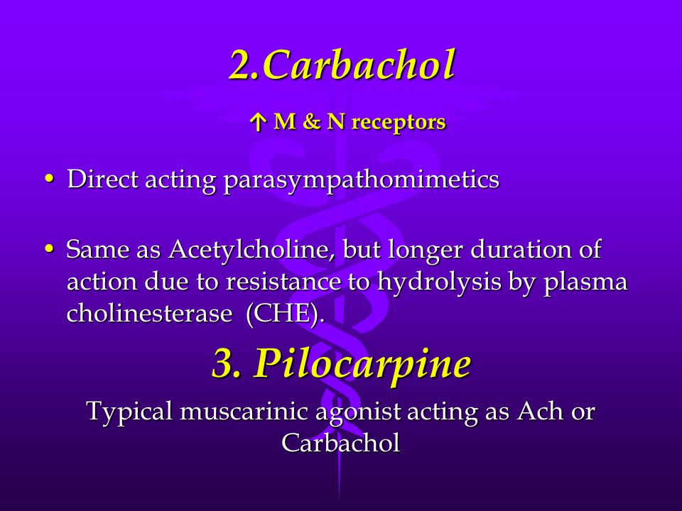 2.Carbachol ↑ M & N receptors Direct acting parasympathomimeticsDirect acting parasympathomimetics Same as Acetylcholine, but longer duration of action due to resistance to hydrolysis by plasma cholinesterase (CHE).Same as Acetylcholine, but longer duration of action due to resistance to hydrolysis by plasma cholinesterase (CHE).
